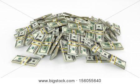 Money heap on white background. stacks of hundred dollar bills.3D render illustration.