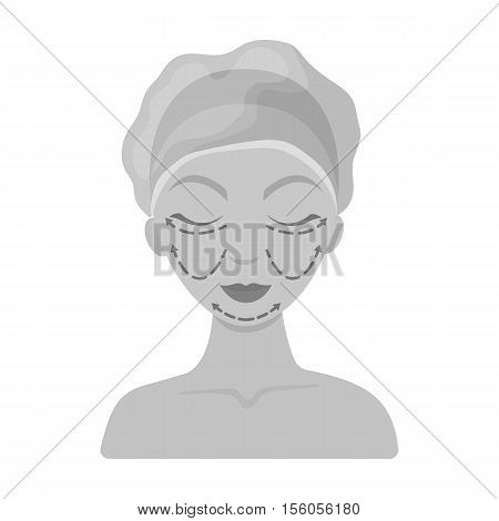 Cosmetic plastic surgery icon in monochrome style isolated on white background. Skin care symbol vector illustration.