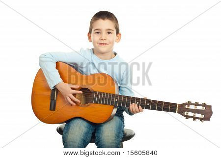 Small Boy Playing Guitar