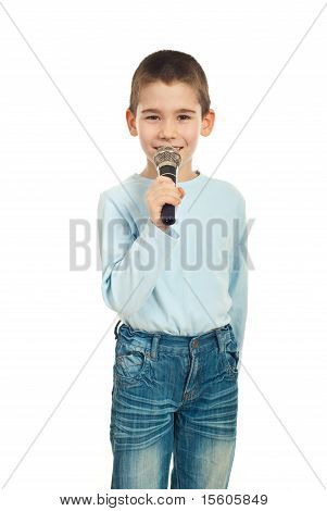 Little Singer Boy With Microphone
