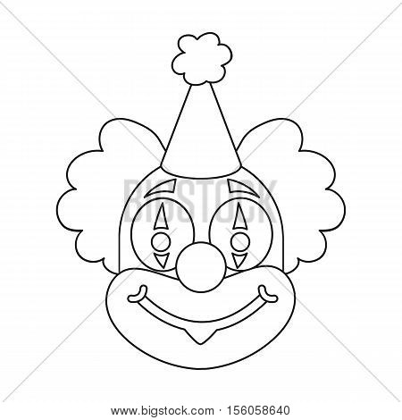Clown icon in outline style isolated on white background. Circus symbol vector illustration.