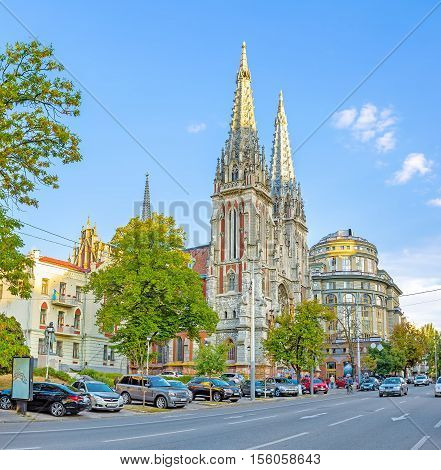 KIEV UKRAINE - SEPTEMBER 18 2016: The Gothic spires of St Nicholas Roman Catholic Cathedral also serving as the National House of Organ and Chamber Music on September 18 in Kiev.