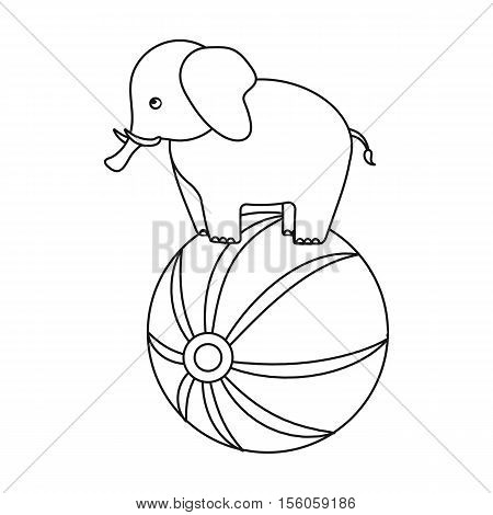Circus elephant icon in outline style isolated on white background. Circus symbol vector illustration.