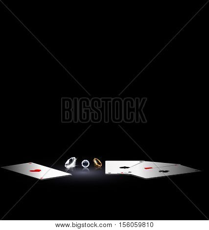 black background, dark abstract place and jewel crystals with cards