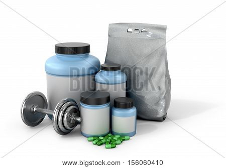 Sports nutrition and supplements with dumbbells on a white background. 3D illustration