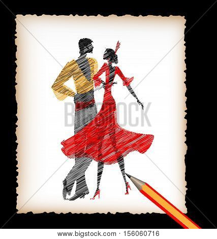 dark background, black pencil, sheet of white paper and the image of abstract Spanish dancers flamenco