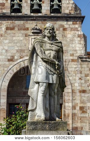 Statue of Don Pelayo victor of battle at Covadonga and first King of Asturias