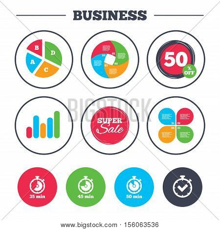 Business pie chart. Growth graph. Timer icons. 35, 45 and 50 minutes stopwatch symbols. Check or Tick mark. Super sale and discount buttons. Vector