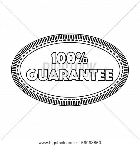 Guarantee label icon in outline style isolated on white background. Label symbol vector illustration.