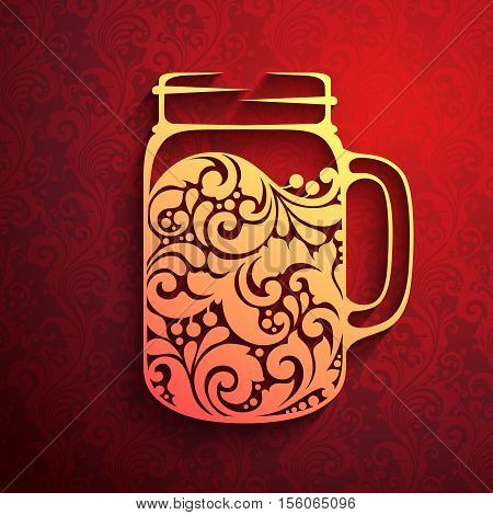 Decorative ornate mulled wine in a jar mug. Hot mulled wine icon logo on red ornate pattern background. Vector illustration drink design