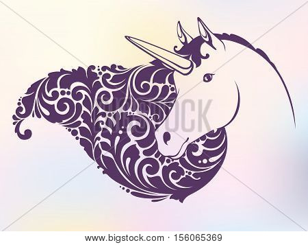 Ornamental decorative unicorn with a beautiful mane on color background. Template for tattoo, shirt design, logo, sign