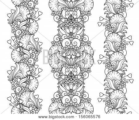 Vector love set seamless pattern borders in doodle style. Hearts, flowers, ornate elements. Floral, ornate, decorative, tribal design elements. Black and white background. Zentangle coloring book page