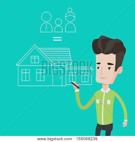 Young man drawing family house. Man drawing a house with a family. Man dreaming about future life in a new family house. Man thinking about family house. Vector flat design illustration. Square layout