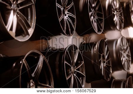 Close up shot of some new car rims.