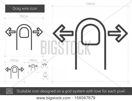 Drag wire vector line icon isolated on white background. Drag wire line icon for infographic, website or app. Scalable icon designed on a grid system.