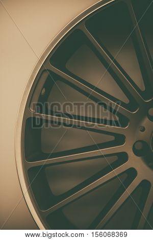 Close up shot of a new car rim.
