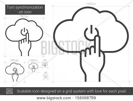 Turn synchronization on vector line icon isolated on white background. Turn synchronization on line icon for infographic, website or app. Scalable icon designed on a grid system.