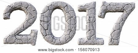 Number 2017 from the stones. isolated on white background. 3D illustration