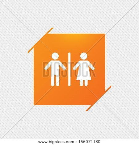WC sign icon. Toilet symbol. Male and Female toilet. Orange square label on pattern. Vector