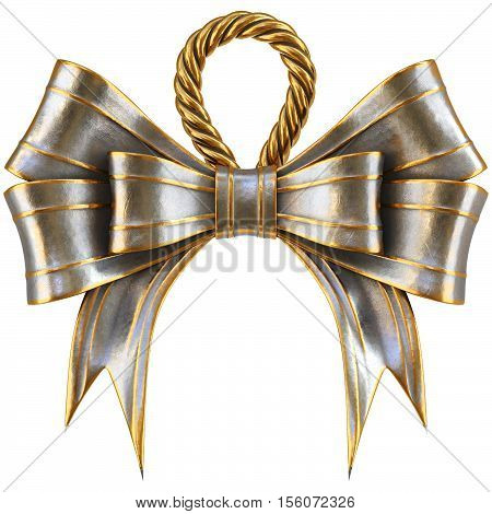 metal Christmas bow isolated on white background. 3D illustration.