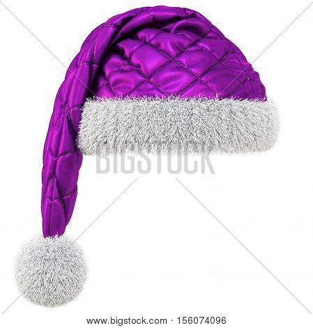Santa Claus purple hat isolated on white background. 3D illustration.