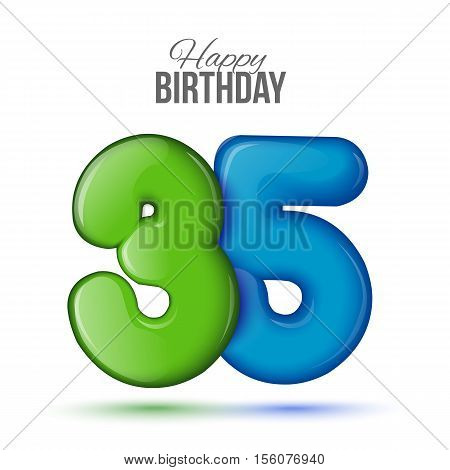 thirty five birthday greeting card template with 3d shiny number thirty five balloon on white background. Birthday party greeting, invitation card, banner with number 35 shaped balloon