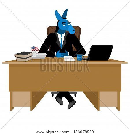 Blue Donkey Democrat Sitting In Office. Animal Boss At Table. Symbol Of United States Political Part