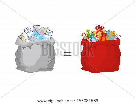 Bag With Letters To Santa Claus And Red Big Sack With Gifts. Illustration For Christmas And New Year