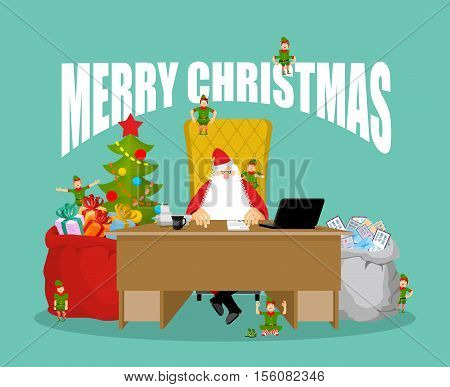 Merry Christmas Card. Santa Claus Checks Mail From Children. Big Bag Of Incoming Post. Red Gift Sack