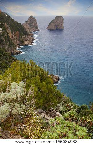 beautiful scenic of capri island south italy mediterranean sea important traveling destination
