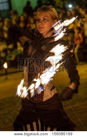 TIMISOARA ROMANIA - OCTOBER 28 2016: Fire show organized by the City Hall Timisoara with the occasion of Fire festival