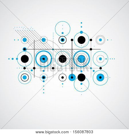 Vector Bauhaus Blue Abstract Background Made With Grid And Overlapping Simple Geometric Elements, Ci