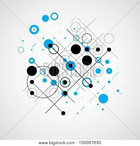 Vector Blue Abstract Background Created In Bauhaus Retro Style. Modern Geometric Composition Can Be