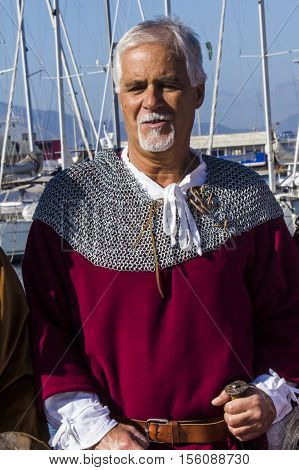CAGLIARI, ITALY - October 29, 2016: Invitas waterfront Porto Sardinia performances of traditions and food. - Drummers and flag bearers of Iglesias