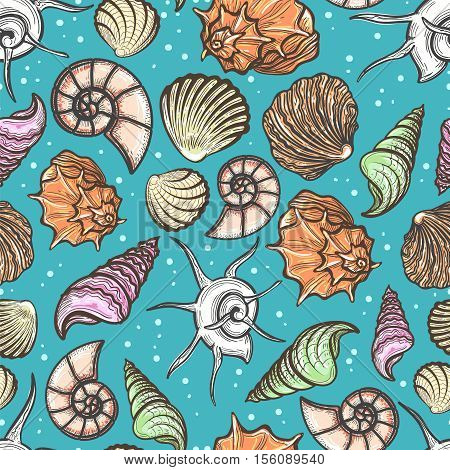 Ocean seamless pattern with colorful seashells vector illustration