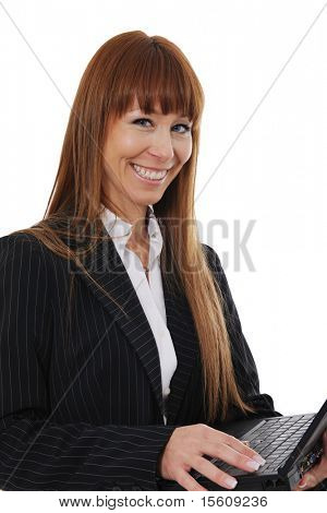 happy and confident businesswoman using a laptop