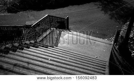 Black and White Stairs Outside Park in Autumn