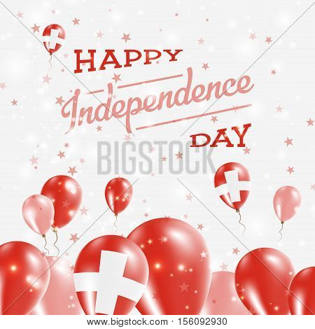 Switzerland Independence Day Patriotic Design. Balloons In National Colors Of The Country. Happy Ind
