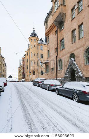 HELSINKI, FINLAND - NOVEMBER 6: Snow in the district of Katajanokka in Helsinki at November 6, 2016