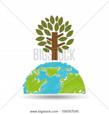 planet earth ecology tree felling icon vector illustration eps 10