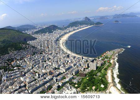 Aerial view of Copacabana beach and part of Ipanema in Rio de Janeiro, Brazil.