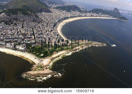 Aerial view of waters polluted with red tide  in Copacabana beach and part of Ipanema in Rio de Janeiro, Brazil.