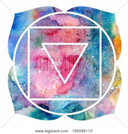 Chakra Muladhara or root chakra icon ayurvedic symbol concept of Hinduism Buddhism. Watercolor cosmic texture. Isolated on white background