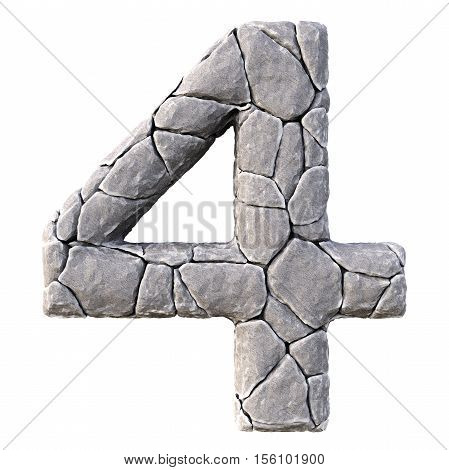 Numbers from the stones. isolated on white background. 3D illustration.