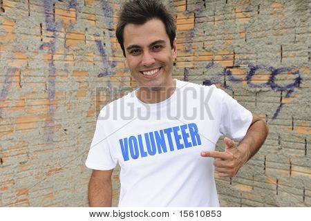 portrait of a happy male volunteer