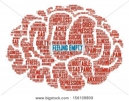 Feeling Empty Brain word cloud on a white background.