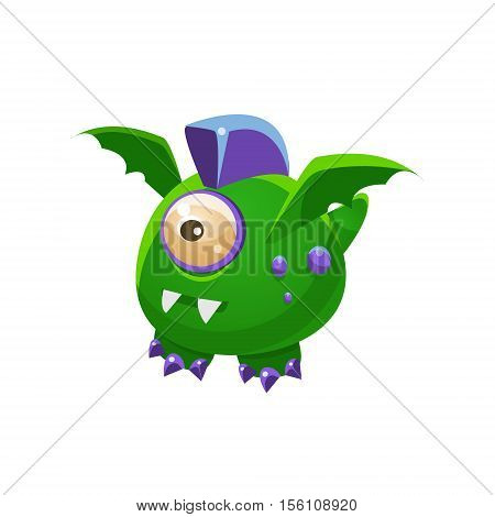 Green Fantastic Friendly Pet Dragon With One Eye Fantasy Imaginary Monster Collection. Colorful Imaginary Dragon Like Alien Creature From Another Planet.
