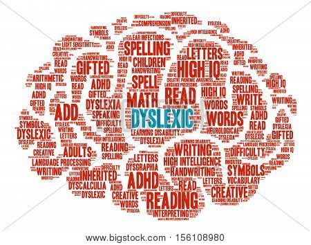 Dyslexic Brain word cloud on a white background.