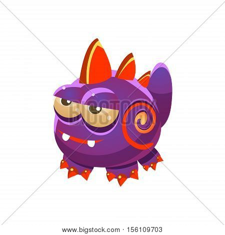 Purple Fantastic Friendly Wingless Pet Dragon Fantasy Imaginary Monster Collection. Colorful Imaginary Dragon Like Alien Creature From Another Planet.