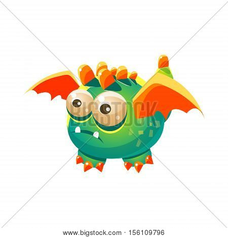 Green Fantastic Friendly Pet Dragon With Orange Wings Fantasy Imaginary Monster Collection. Colorful Imaginary Dragon Like Alien Creature From Another Planet.